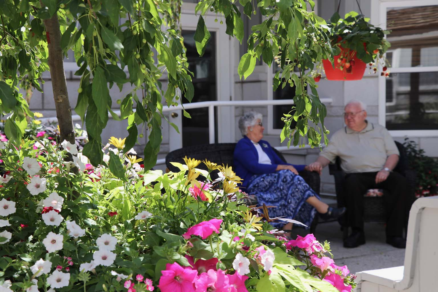 Residents in courtyard